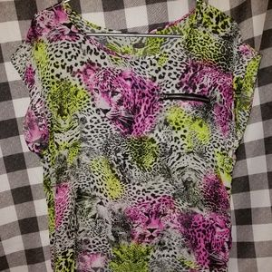 Bright High/Low Animal Print Zipper Shirt NWT